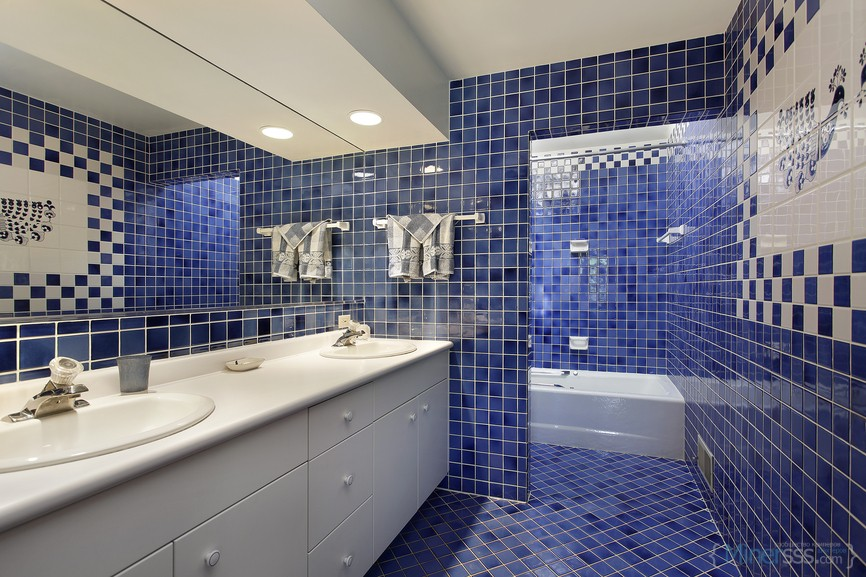 Bathroom in upscale home with blue tile
